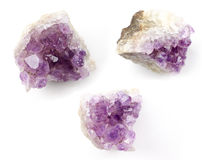 Transparent crystals of amethyst on white background Royalty Free Stock Images