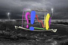 Transparent cube of business graphs on money boat with storm Royalty Free Stock Images