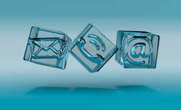Transparent cube contact icon 3D rendering Royalty Free Stock Photography