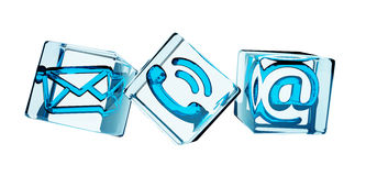 Transparent cube contact icon 3D rendering. Blue transparent cube contact icon illustration 3D rendering Stock Image