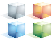 Transparent cubes. Four colored transparent cubes isolated on white. Eps8. CMYK. Organized by layers.Global colors. Gradients used Stock Photography