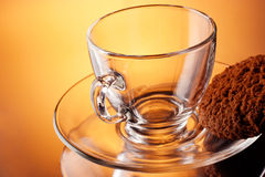 Transparent cup with cookies Stock Photos