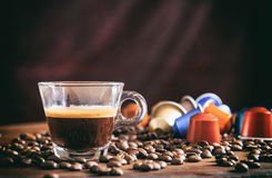 Transparent cup of espresso Royalty Free Stock Photography