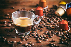 Transparent cup of espresso Royalty Free Stock Photos
