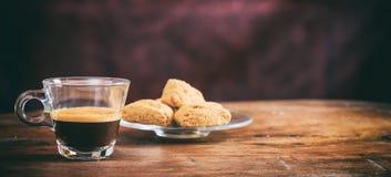Transparent cup of espresso Stock Photos
