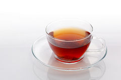 Transparent cup with green tea Stock Photo