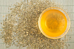 Transparent cup of green tea Royalty Free Stock Images