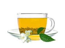 Transparent cup of green tea and jasmine flower isolated Stock Image