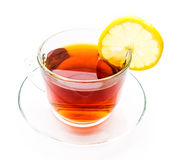 Transparent cup of lemon tea Stock Photography