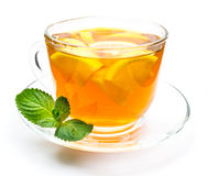 Transparent cup of lemon tea and mint Royalty Free Stock Photography