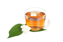 Transparent cup with tea Royalty Free Stock Images