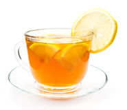 transparent cup of tea with lemon slice Royalty Free Stock Photo