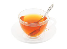 Transparent cup of tea with spoon Stock Image