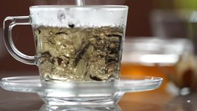 Transparent cup of tea on the table. A cup of tea on the table stock footage