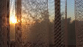 Transparent curtain moving by wind at sunset sunrise close up stock video footage
