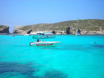 Transparent, cyan waters of the Blue Lagoon, Malta Royalty Free Stock Image