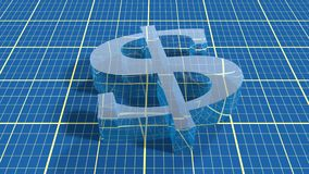 Transparent 3d dollar icon on blueprint