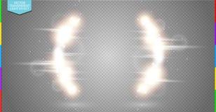 Transparent de vecteur de lumière de demi-cercle d'or de luxe abstrait de fusée et d'effet de la lumière d'étincelle illustration de vecteur