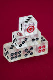 Transparent dice on a red felt Stock Photo