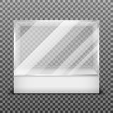 Transparent display glass box isolated on checkered background vector illustration Royalty Free Stock Photos