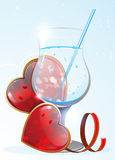 Transparent drink and Valentines hearts Royalty Free Stock Photo