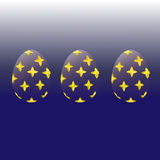 Transparent Easter eggs with a gold pattern. On a blue gradient background vector illustration