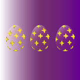 Transparent Easter eggs with a gold pattern. On a purple gradient background vector illustration