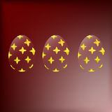 Transparent Easter eggs with a gold pattern. On a red gradient background vector illustration