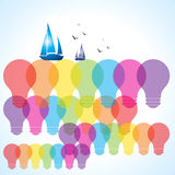 Transparent eco bulb and boat Stock Image