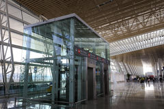 The transparent elevator of t4 terminal, amoy city, china Stock Image