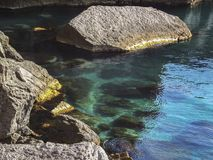 Transparent emerald sea with rocks near the village of Novy Svet in the Crimea. Golitsyn or Falcon trail royalty free stock images