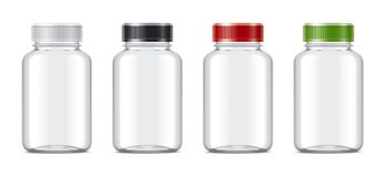 Blank bottles mockups for pills or other pharmaceutical preparations. Transparent empty bottles mockup for your projects Stock Image