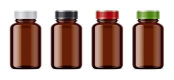 Blank empty bottles mockups for pills or other pharmaceutical preparations. Transparent empty dark bottles with pills for your projects stock illustration