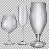 Transparent empty glass goblets for cognac, champagne and beer Royalty Free Stock Images