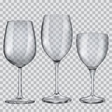 Transparent empty glass goblets for wine vector illustration