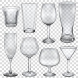 Transparent empty glasses and stemware vector illustration