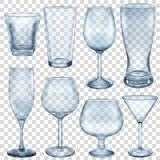 Transparent empty glasses and stemware vector illustration