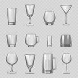 Transparent empty glasses and stemware drinks tumbler mug cups reservoir vessel realistic vector illustration Stock Photography