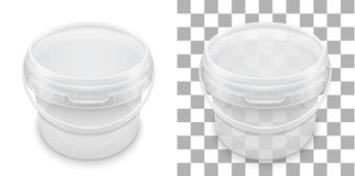 Transparent empty plastic bucket for storage. Vector packaging t. Transparent empty plastic bucket for storage of food, honey or ice cream. View from above stock illustration