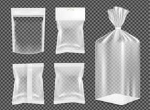 Transparent empty plastic packaging. Blank foil sachet for food stock illustration
