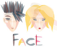 Transparent faces of boy and girl Royalty Free Stock Photography