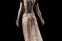 Transparent female dress isolated on black. Rear Stock Image
