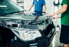 Transparent film, car paint protection Royalty Free Stock Photo