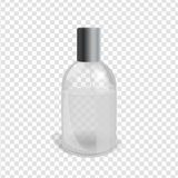 Transparent Flacon Image. Transparent glass flacon with silver elements. Beautiful vector illustration in realistic style. Cosmetic, skin care or perfumery Stock Image