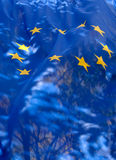 Transparent flag of  European Union. Transparent flag of the European Union against the sky Royalty Free Stock Image