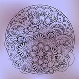 Transparent floral summer composition with mandala violet gradie Royalty Free Stock Image