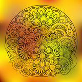 Transparent floral summer composition with mandala yellow gradie Stock Image