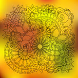 Transparent floral summer composition with mandalas yellow gradi Royalty Free Stock Photos