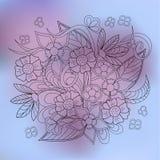 Transparent floral summer composition violet gradient Stock Image