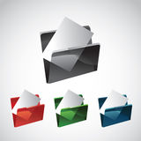 Transparent folder and file. File and folder - vector illustration - set of different colors Stock Photography